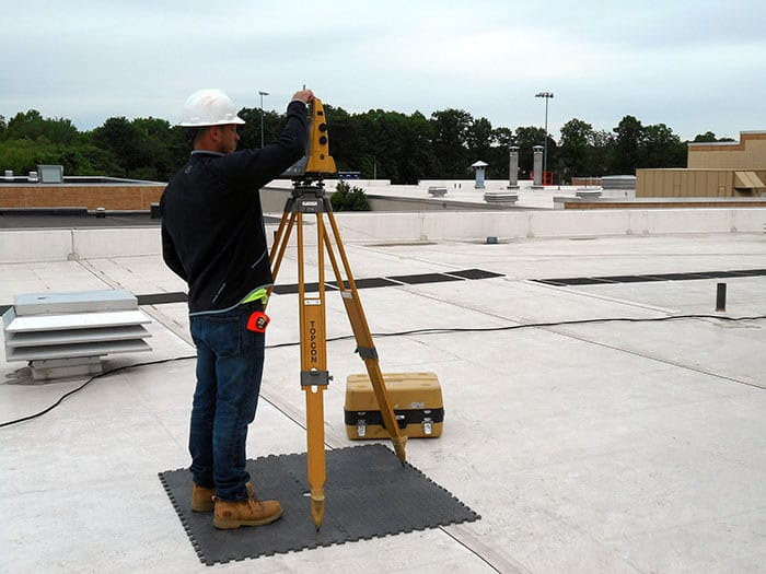 Surveying Roof at Eastern Regional High School